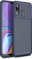 Чехол TOTO Чехол-накладка TOTO TPU Carbon Fiber 1,5mm Case Samsung Galaxy A40 Dark Blue SKU_F_95673