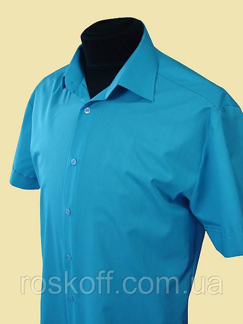 Купить рубашку бирюзового цвета с коротким рукавом