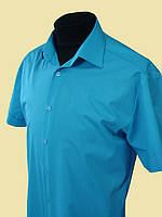 Купить рубашку бирюзового цвета с коротким рукавом, фото 1