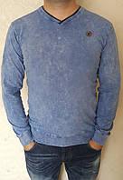 Оригинальный мужской свитер с V-образным вырезом горловины