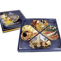 Стеклянная тарелкаГ.Климт Carmani, 4 шт., 33х33 см 198-7005