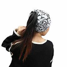 Шапочка хомут FeiTong в англійському стилі жіноча чорний, фото 2