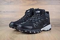 Мужские зимние кроссовки на меху The North Face Ultra 110, кожа, черные.