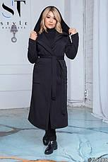 Пальто женское демисезонное черное большие размеры: 50-52,54-56,58-60, фото 2