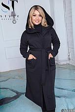 Пальто жіноче демісезонне синє великі розміри: 50-52,54-56,58-60, фото 3