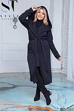 Пальто женское демисезонное синее большие размеры: 50-52,54-56,58-60, фото 3