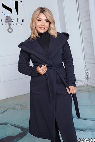 Пальто жіноче демісезонне синє великі розміри: 50-52,54-56,58-60, фото 2