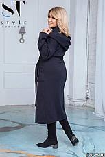 Пальто женское демисезонное синее большие размеры: 50-52,54-56,58-60, фото 2