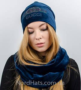 """Комплект """"Велюр Gucci"""", шапка+снуд, (Синий)"""