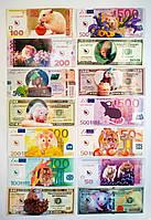 Магниты купюры виниловые евро,гривна,доллар Год Крысы 2020 год микс