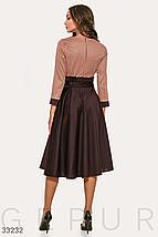 Деловое платье расклешенная юбка завышенная талия сьемный пояс цвет шоколадный, фото 2