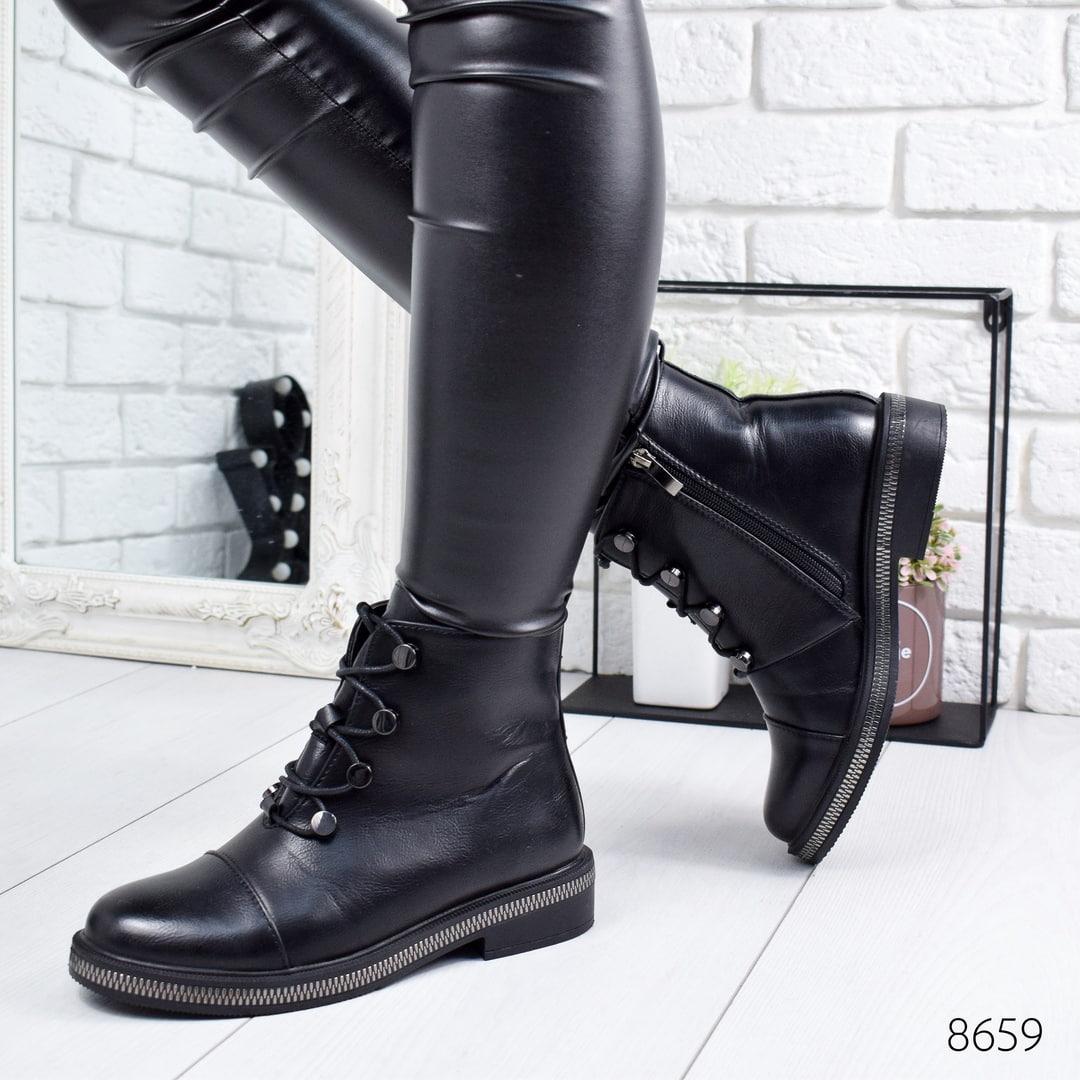 Ботинки женские Vivaro черные эко -кожа ))В НАЛИЧИИ ТОЛЬКО 41р