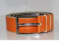 Мужской кожаный классический ремень под брюки и джинсы. Италия.134см.Оранжевый.