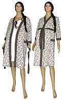 Ночная рубашка и теплый халат для беременных и кормящих 19008 Amarant Soft молочно-коричневый, фото 1