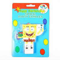"""Свеча для торта """"Мочалка Боб"""". Свечи для дня рождения оптом"""