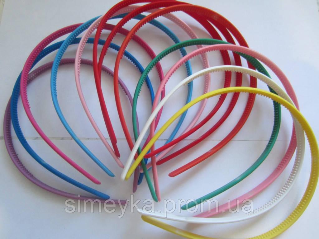 Обруч для волос каучуковый (прорезиненный) 5 мм цветной, упаковка 12 шт.