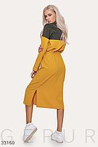 Стильное двухцветное платье спортивного стиля средней длины цвет серо-желтый, фото 2