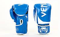 Перчатки боксерские PU на липучке VENUM BO-8352-B (р-р 8-12oz, синий-белый)