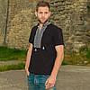 """Мужская вышитая футболка: серая вышивка """"Казацкий крест"""", черная"""