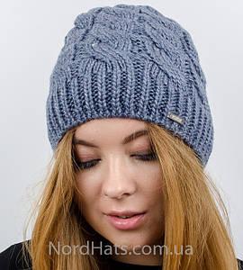 Женская вязаная шапка, (Джинс светлый)