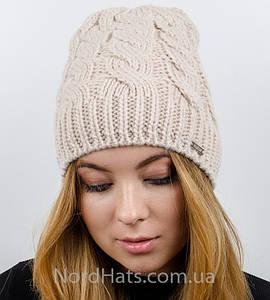 Женская вязаная шапка, (Пудра светлая)