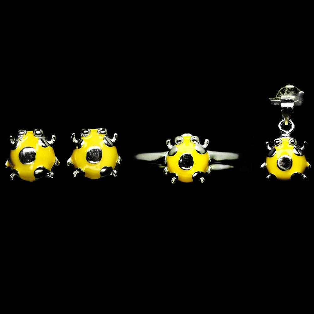 Комплект серебряных украшений кольцо, кулон и серьги, эмаль фигурка Божья коровка, 058НЭ