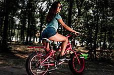 Розовый Электровелосипед горный электро фэтбайк на 20 колесах электро байк Lks, фото 3