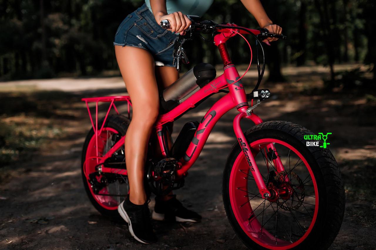 Розовый Электровелосипед горный электро фэтбайк на 20 колесах электро байк Lks