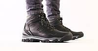 Ботинки зимние Columbia мужские, черные, натуральная кожа, полушерсть, в стиле Коламбия, код FS-9200-1