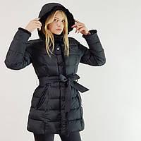 Пуховик-полупальто зимнее женское Snowimage с капюшоном и натуральным мехом (норка) черного цвета, скидки