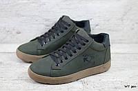 Мужские кожаные зимние ботинки/кеды Off White (Реплика) (Код: W7 зел ) ►Размеры [40,41,42,43,44,45], фото 1