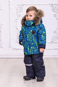 Теплый зимний комбинезон для мальчиков с опушкой из натурального меха  на рост с 92 см до 110 см, фото 2