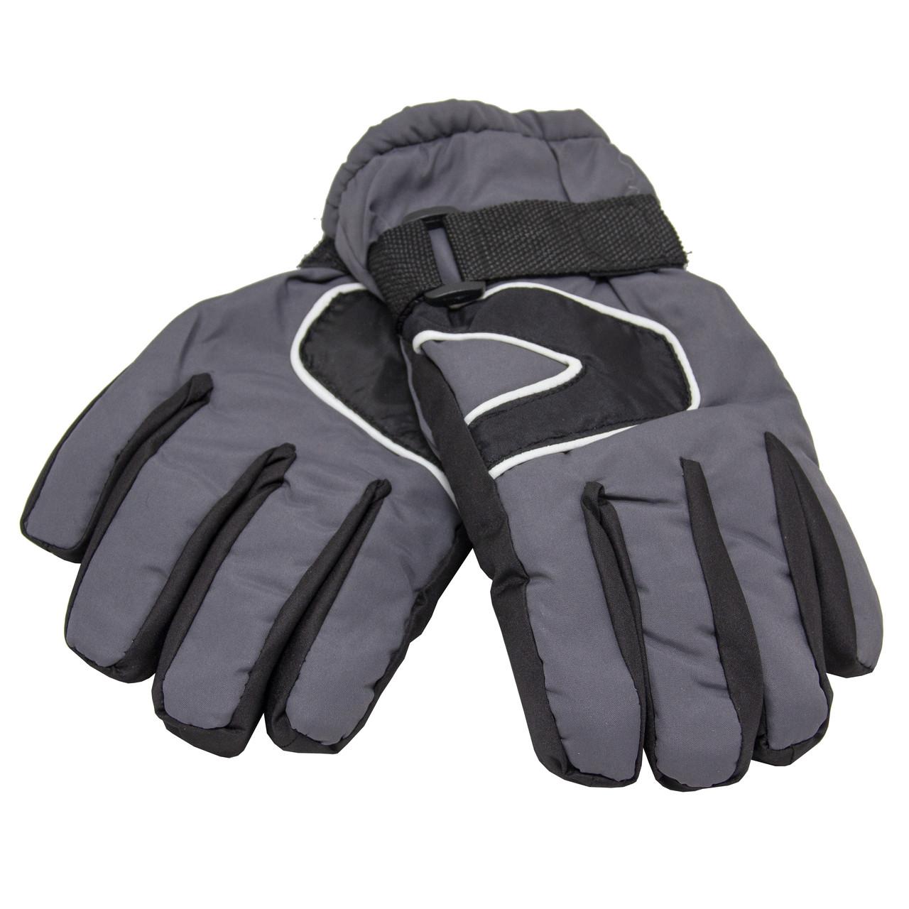 Водоотталкивающие детские лыжные перчатки, размер 13, серый, плащевка, флис, синтепон (513658-2)