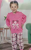 АКЦИЯ !!! Детская розовая турецкая пижама на девочку фирма Aydogan на 5 лет с рисунком фламинго и сердечки
