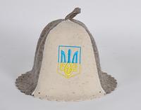 Шапка для бани и сауны войлочная Герб Украины