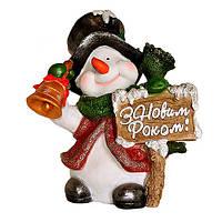Новорічна фігура Сніговик в капелюсі з дзвіночком