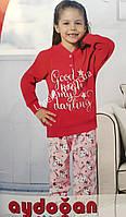 АКЦИЯ !!!!! Детская турецкая пижама на девочку фирма Aydogan на 4 года с рисунком цвет- красная розовая