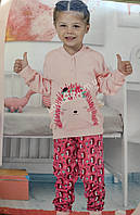 АКЦИЯ!!!!! Детская розовая турецкая пижама на девочку фирма Aydogan на 5 лет с рисунком ежики