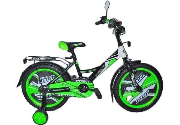 """Велосипед дитячий TOTEM ACTIVE 18"""" Чорний/Зелений + опорні колеса + крила + багажник"""