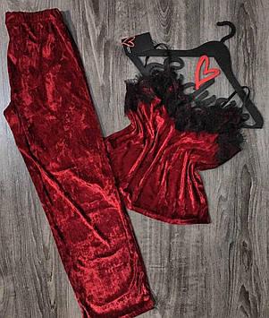 Бордовая велюровая пижама с кружевом, майка штаны