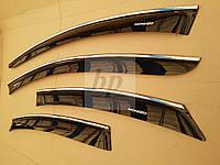 Дефлекторы окон (ветровики) с хром полосой (кантом) Ford Mondeo IV Sedan(Форд Мондео 4 седан) 2007г+