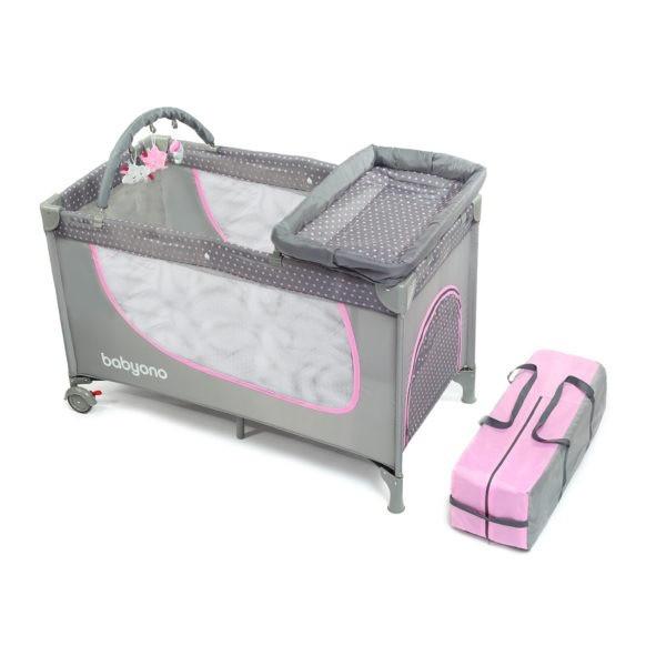 Кроватка туристическая (серо-розовая) 2 в 1 BabyOno