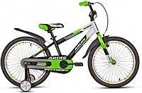 """Велосипед детский ARDIS FITNESS BMX 20"""" Белый/Салатовый + опорные колеса + крылья"""
