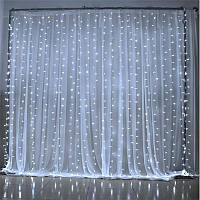 Гирлянда штора-водопад,белый шнур, 3*2 м, 240 LED, белая, с переходником