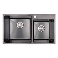 Мойка для кухни из нержавющей стали врезная цвет черный Imperial S7843BL PVD black Handmade 2.7/1.0 mm