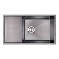 Мойка для кухни из нержавющей стали врезная цвет черный Imperial D7844BL PVD black Handmade 3.0/1.2 mm