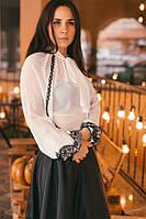Женская белая вышиванка-блузка из искусственного шифона с бантом «Превосходство»