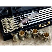 """Набір шампурів з бронзовими ручками """"Гранд"""" (6 шт.) + рюмки (6 шт.) + мисливський ніж 470054"""