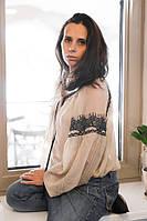 Женская вышиванка-блузка из искусственного шифона песочного цвета с пышными рукавами «Начало»
