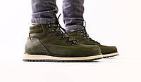 Ботинки зимние мужские, хаки, натуральная кожа, полушерсть, код FS-8210-2
